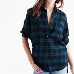 Madewell Ex-boyfriend Plaid Flannel Shirt Green